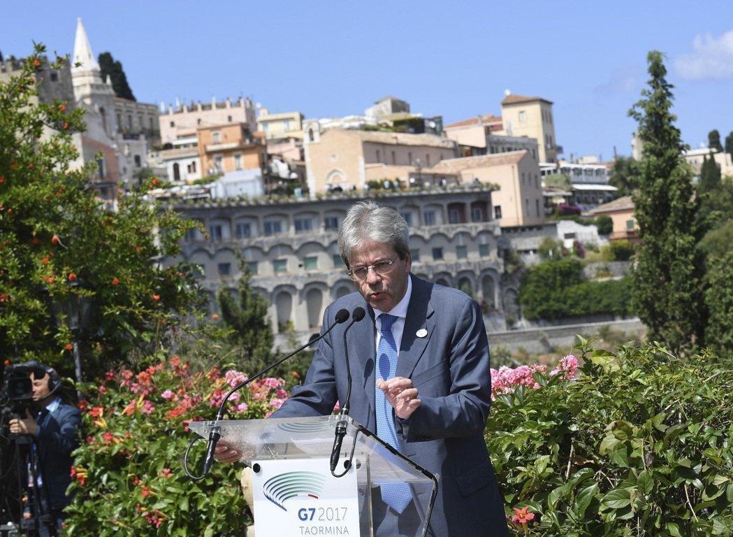義大利當時總理簡提諾尼於2017年選擇在地中海西西里島道米那舉辦G7峰會。(美聯...