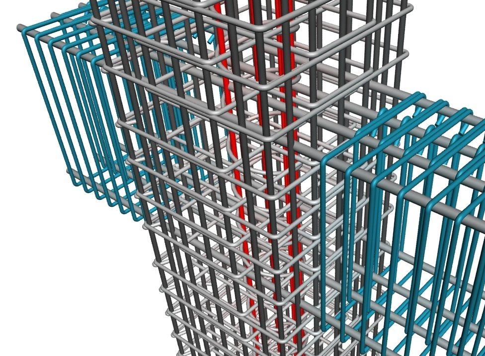 BIM 梁柱接頭鋼筋施工性檢討。圖/戴雲發提供