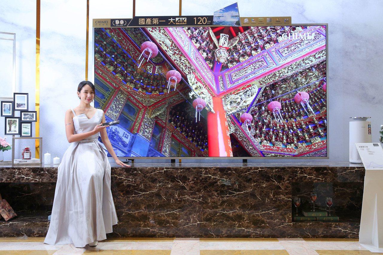 奇美家電展推出國產最大尺寸120吋液晶顯示器U系列,帶來極致影音體驗。圖/奇美家...