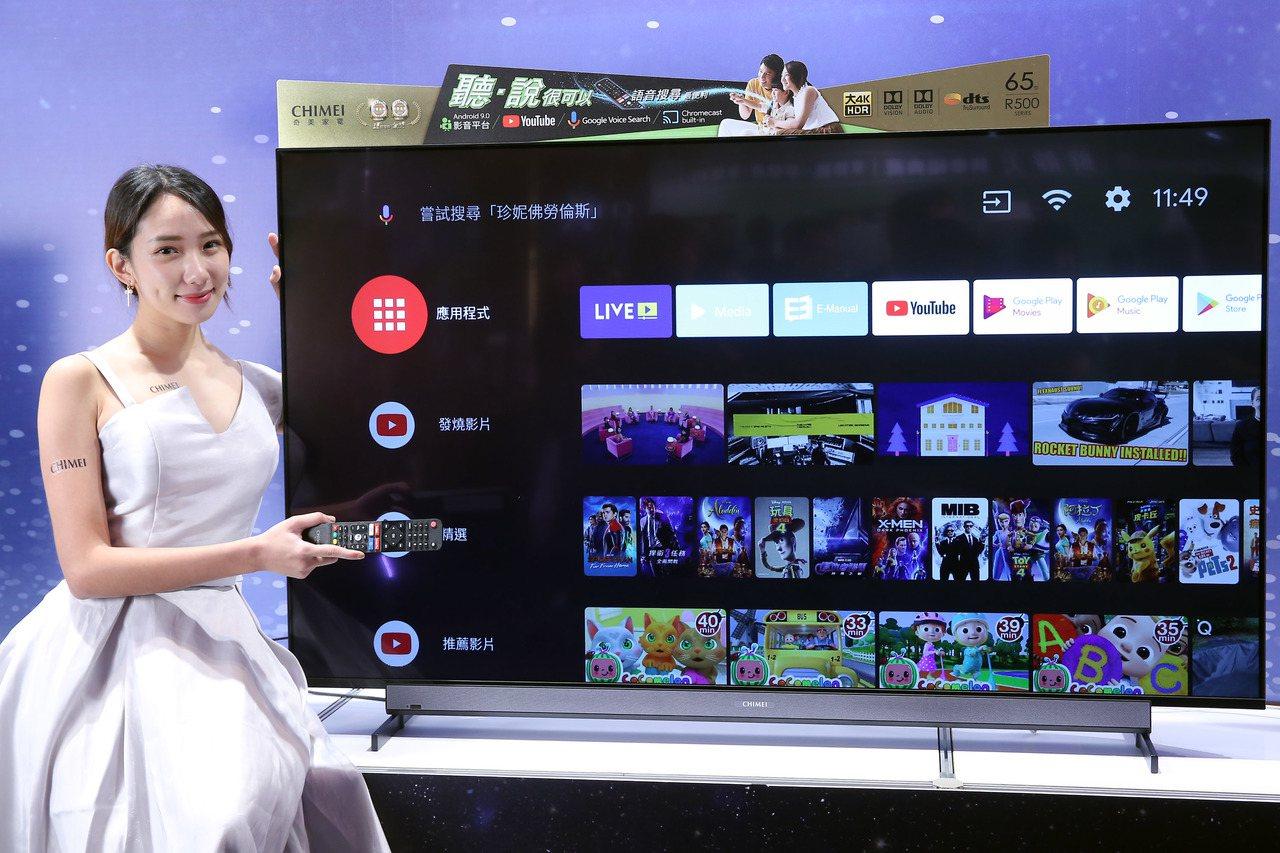 奇美家電Android大4K HDR液晶顯示器R5全系列,搭載最新Android...
