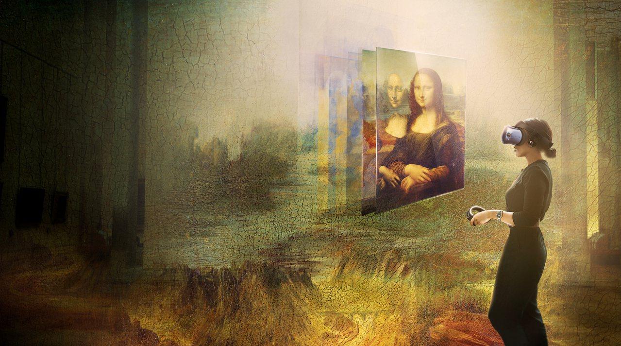 羅浮宮攜手HTC,呈現史上首次蒙娜麗莎虛擬實境體驗。(宏達電提供)