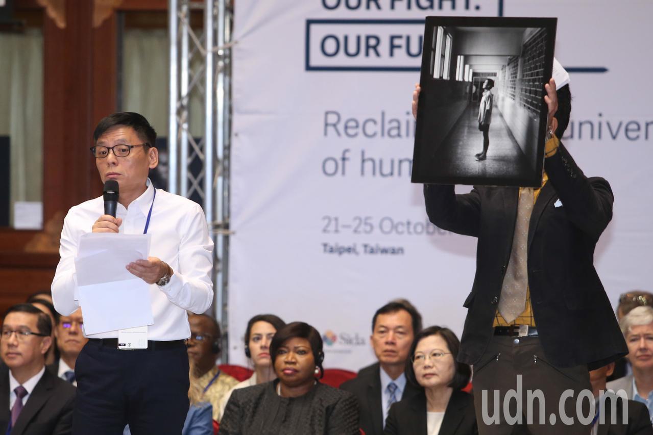 「國際人權聯盟」第40屆年會開幕上午在圓山飯店舉行,曾受冤獄而被關了長達16年的...