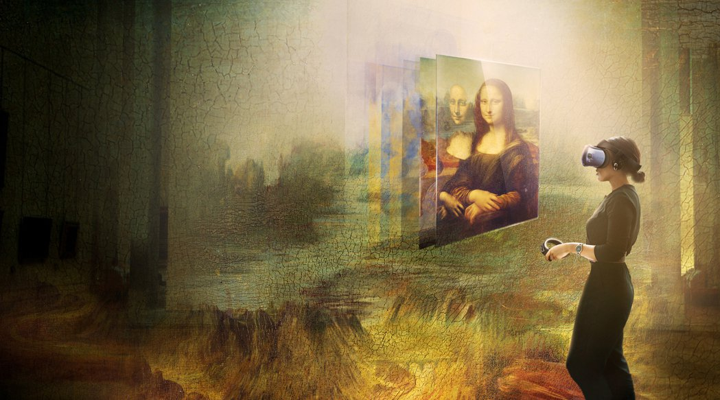 宏達電與羅浮宮合作,呈現史上首次蒙娜麗莎虛擬實境體驗。 宏達電/提供