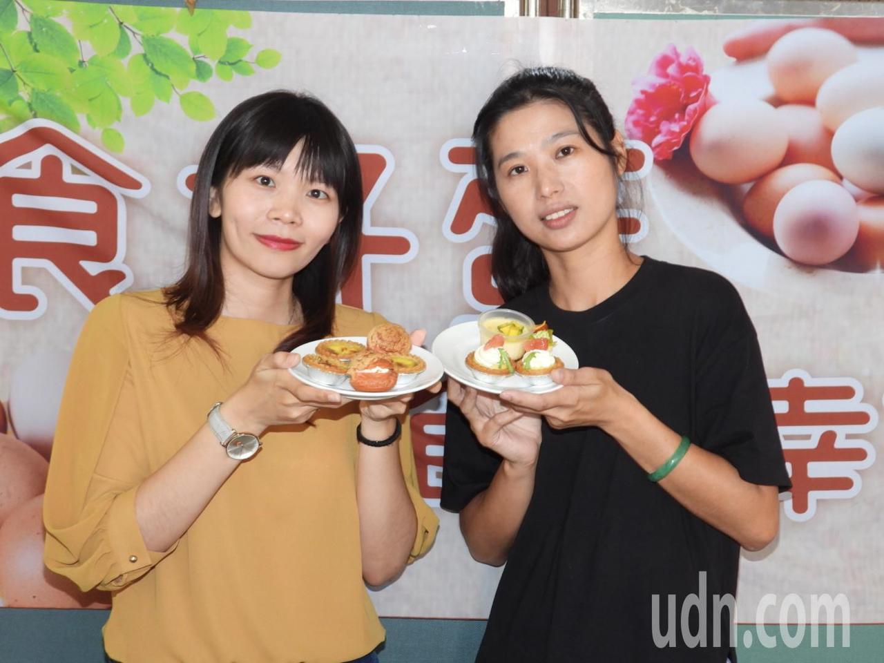 台首大餐飲系利用優質台南雞蛋製作各種精緻點心。記者周宗禎/攝影