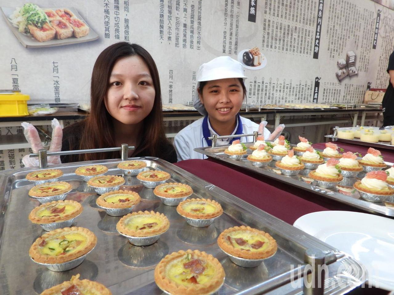 台首大餐飲系師生採用優質台南雞蛋,製作各種精緻點心。記者周宗禎/攝影