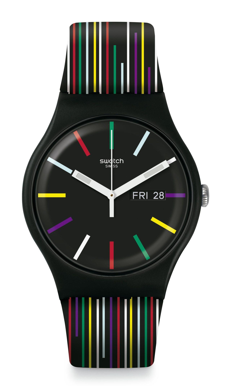 SWATCH七彩紋路腕表,2,350元。圖/SWATCH提供