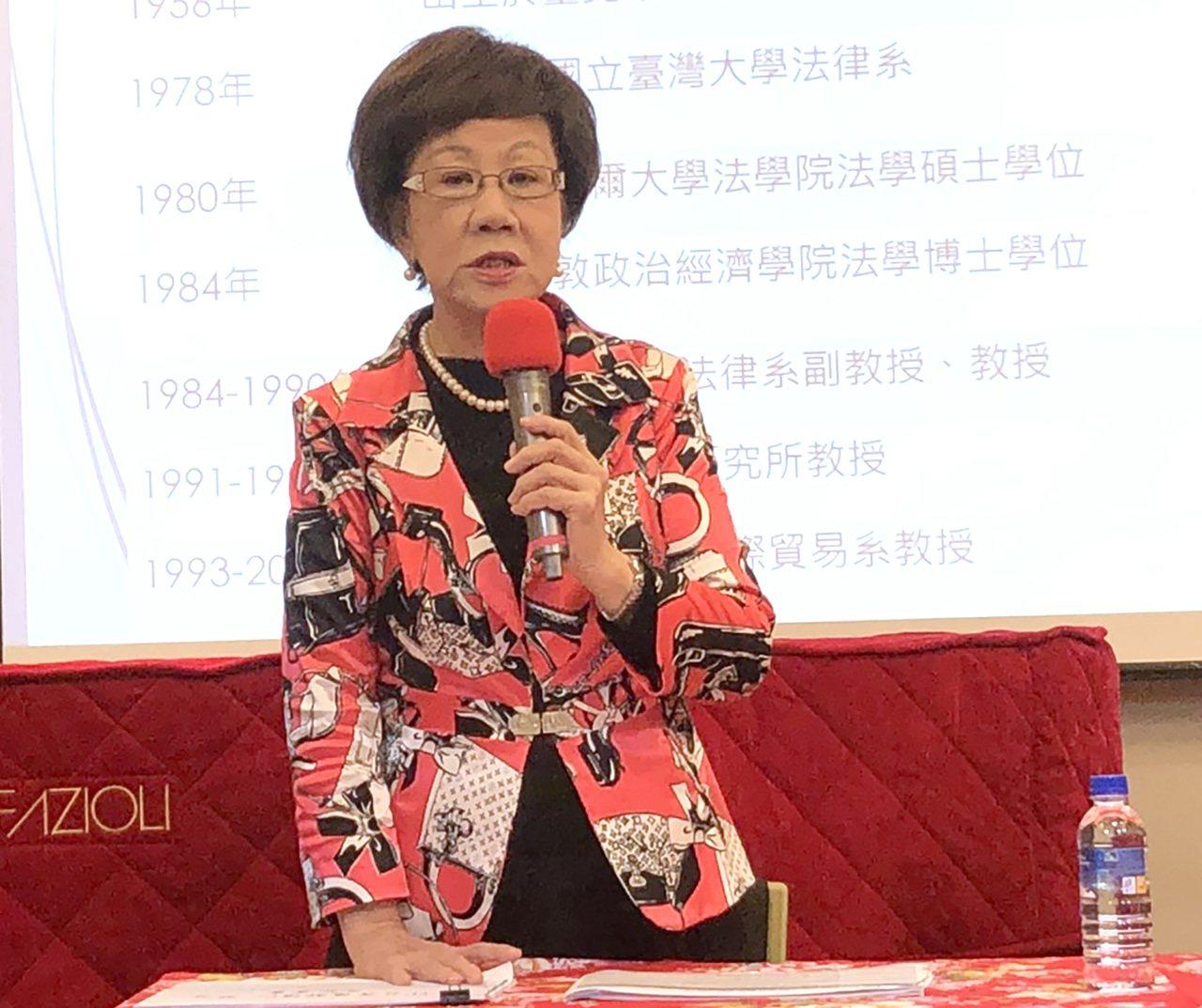 前副總統呂秀蓮上午舉行記者會解讀蔡英文總統「真假博士」謎題。記者潘姣琪/攝影