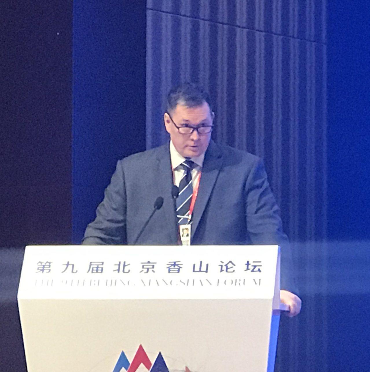 出席第九屆北京香山論壇的美國助理國防部長幫辦施燦德。特派記者陳言喬/攝影