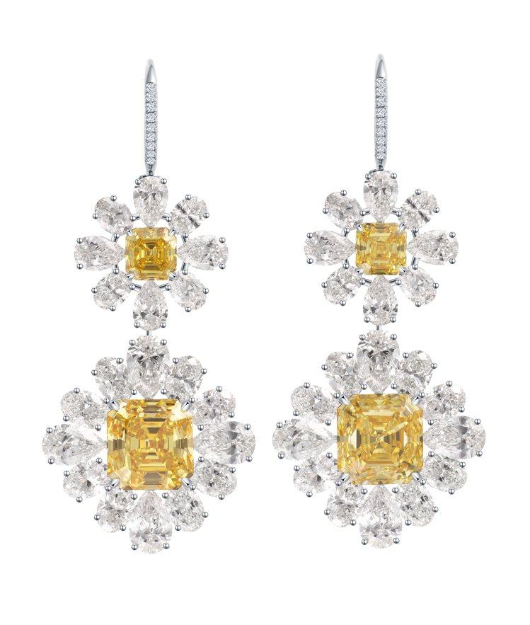 海瑞溫斯頓Twin Flowers方形祖母綠型切工黃鑽耳環,主石為方形祖母綠型切...