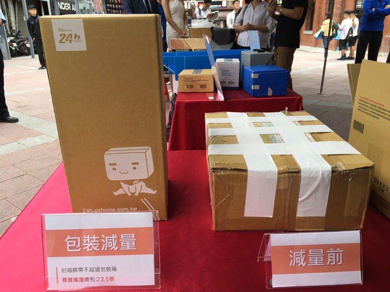 網購包裝減量前(右)使用許多膠帶。記者吳姿賢/攝影