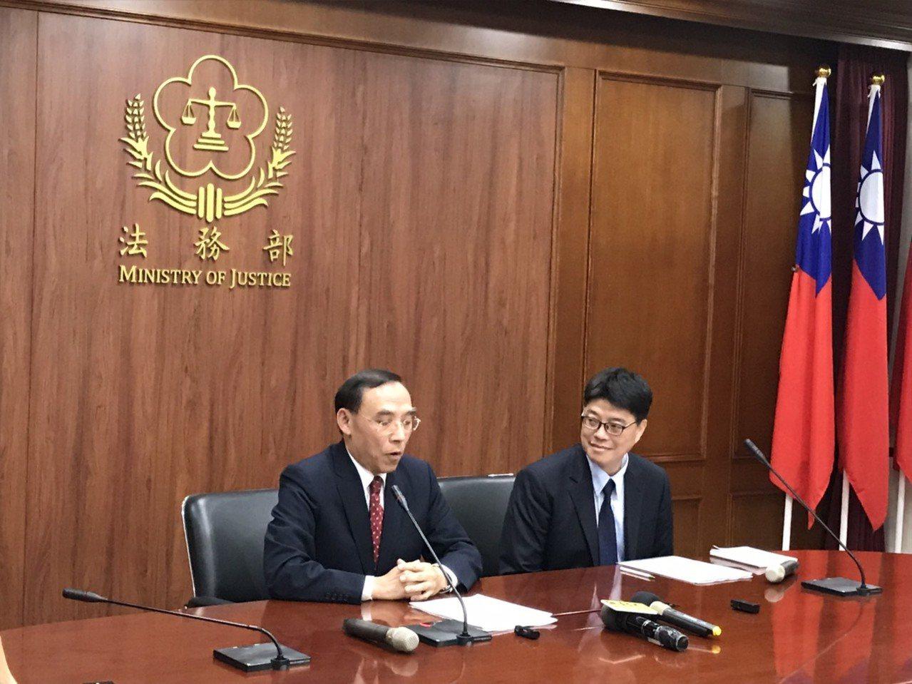 陸委會與法務部今日晚間召開記者會。圖/記者呂佳蓉攝影