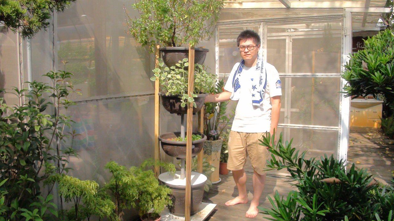魚菜共生系統現在也開發出層架型,可融入居家庭園景觀。記者王昭月/攝影