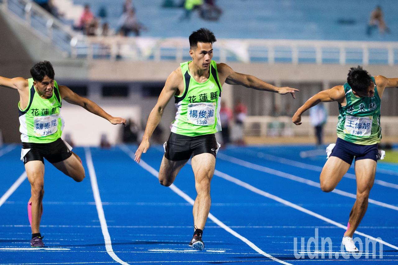 108全運會田徑男子100公尺決賽,楊俊瀚最後衝線以10秒33奪得金牌。記者季相...