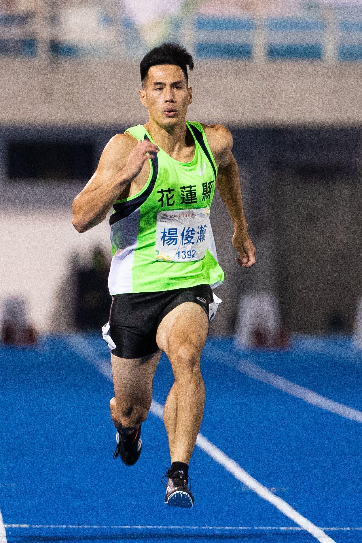 楊俊瀚全運會男子100公尺決賽摘金。記者季相儒/攝影