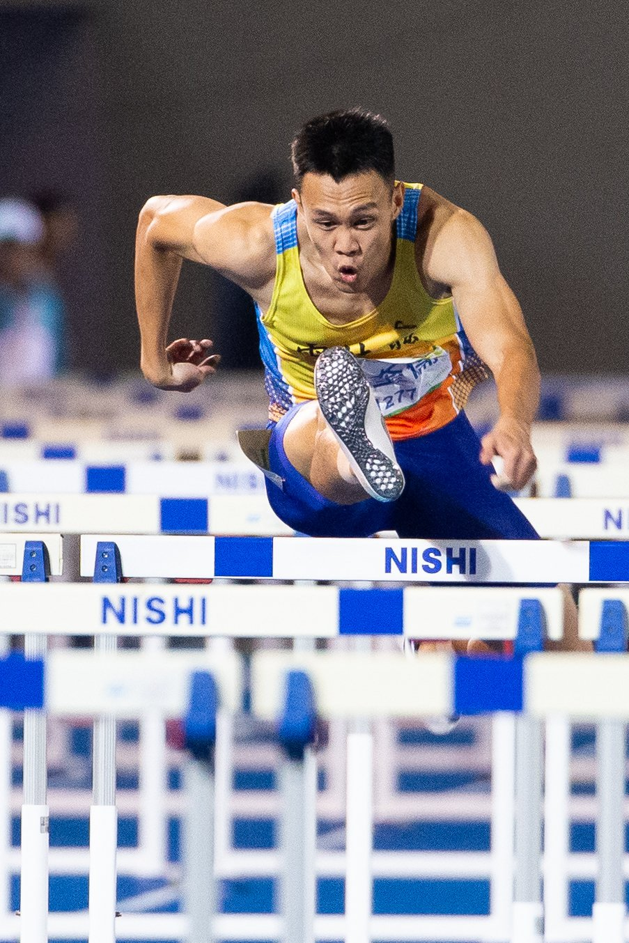 陳奎儒110公尺跨欄13秒36摘金。記者季相儒/攝影