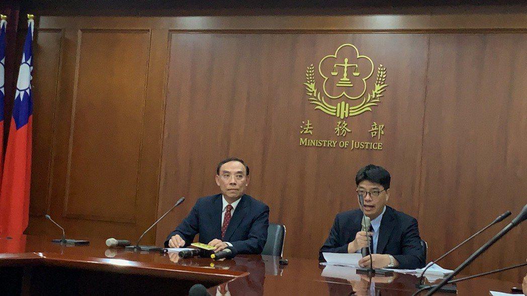 陸委會和法務部今天下午聯合開記者會說明港女箱屍案案。記者賴佩璇/攝影。