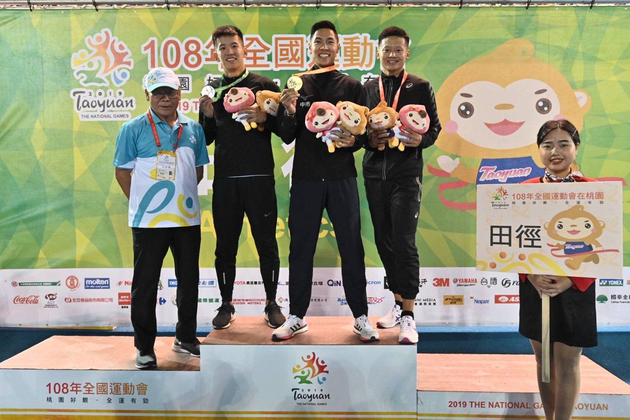 楊隆翔摘銀(左二起)、陳傑奪金,余晨逸銅牌。圖/全運會提供