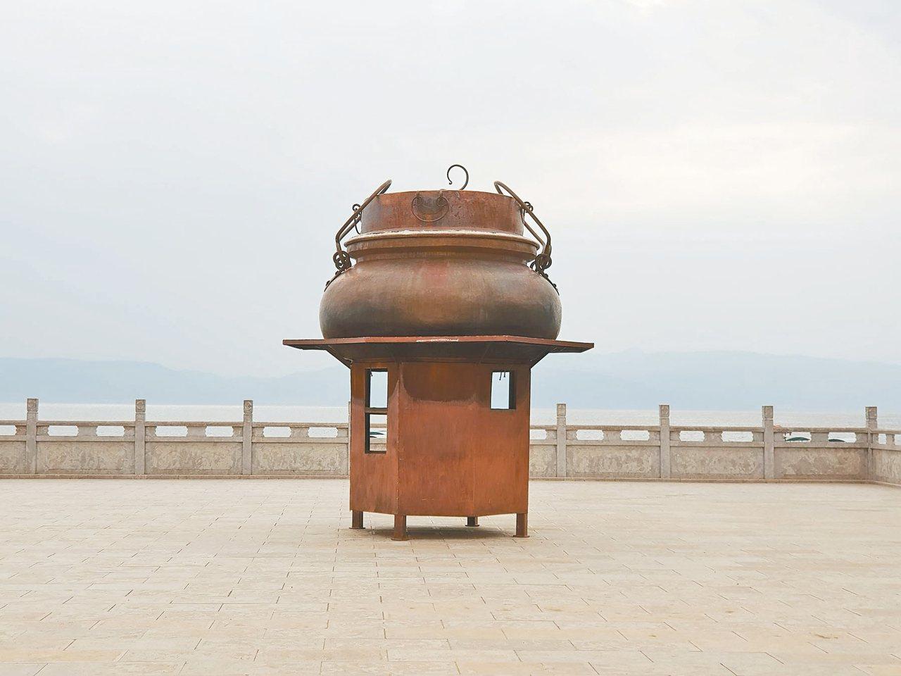 撫仙湖畔的祿充景區,每年8會舉行銅鍋美食節。 圖/本報雲南澄江傳真