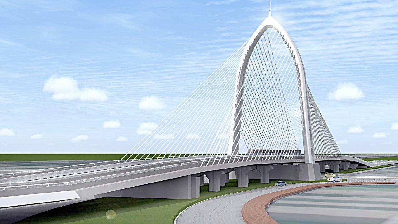 台中市打造中科斜張橋,A字形塔柱造型優美,被形容為宛如「少女彈豎琴」。圖/台中市...