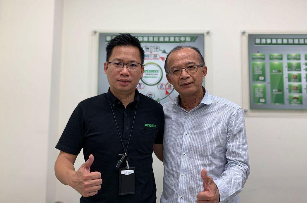 鼎堅綠能董座王清斌(右)與總經理張佑銘聯手為民眾打拚低碳優質環境。 莊玉隆