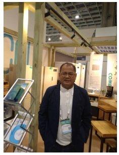 節能屋能源董事長楊明坤攝於2019台灣國際智慧能源週展場。 翁永全/攝影