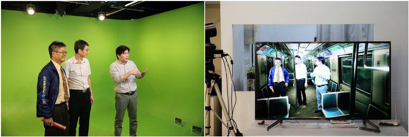 醒吾科大新媒體傳播系建置與業界同規格的綠幕攝影教室。 曹佳榮/攝影