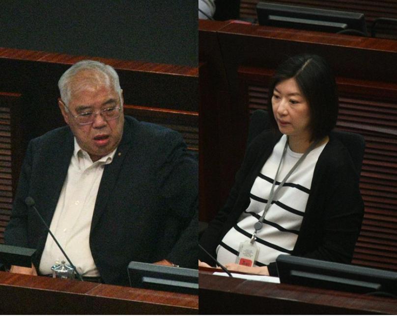 香港民建聯黃定光(左)和新民黨容海恩(右),先後當選為立法會《禁止蒙面規例》小組...