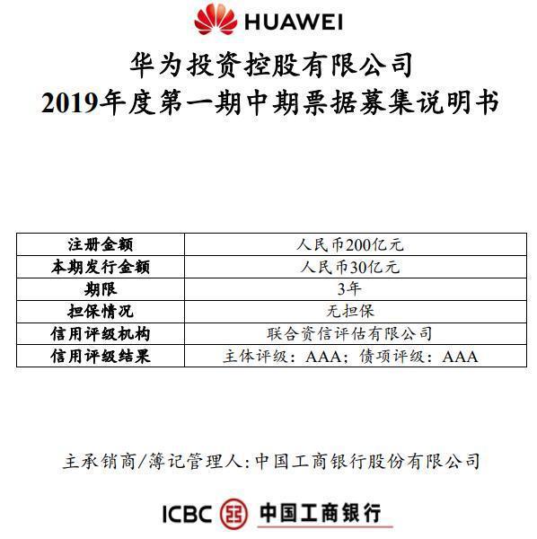 華為投資控股有限公司於10月22日發行2019年度第一期中期票據,規模人民幣30...