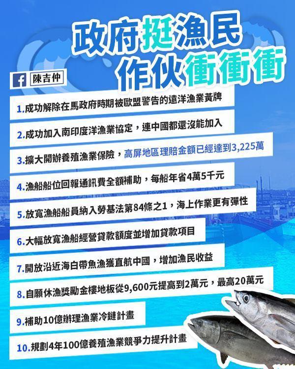 農委會主委陳吉仲列出10項漁業政策。圖/取自陳吉仲臉書