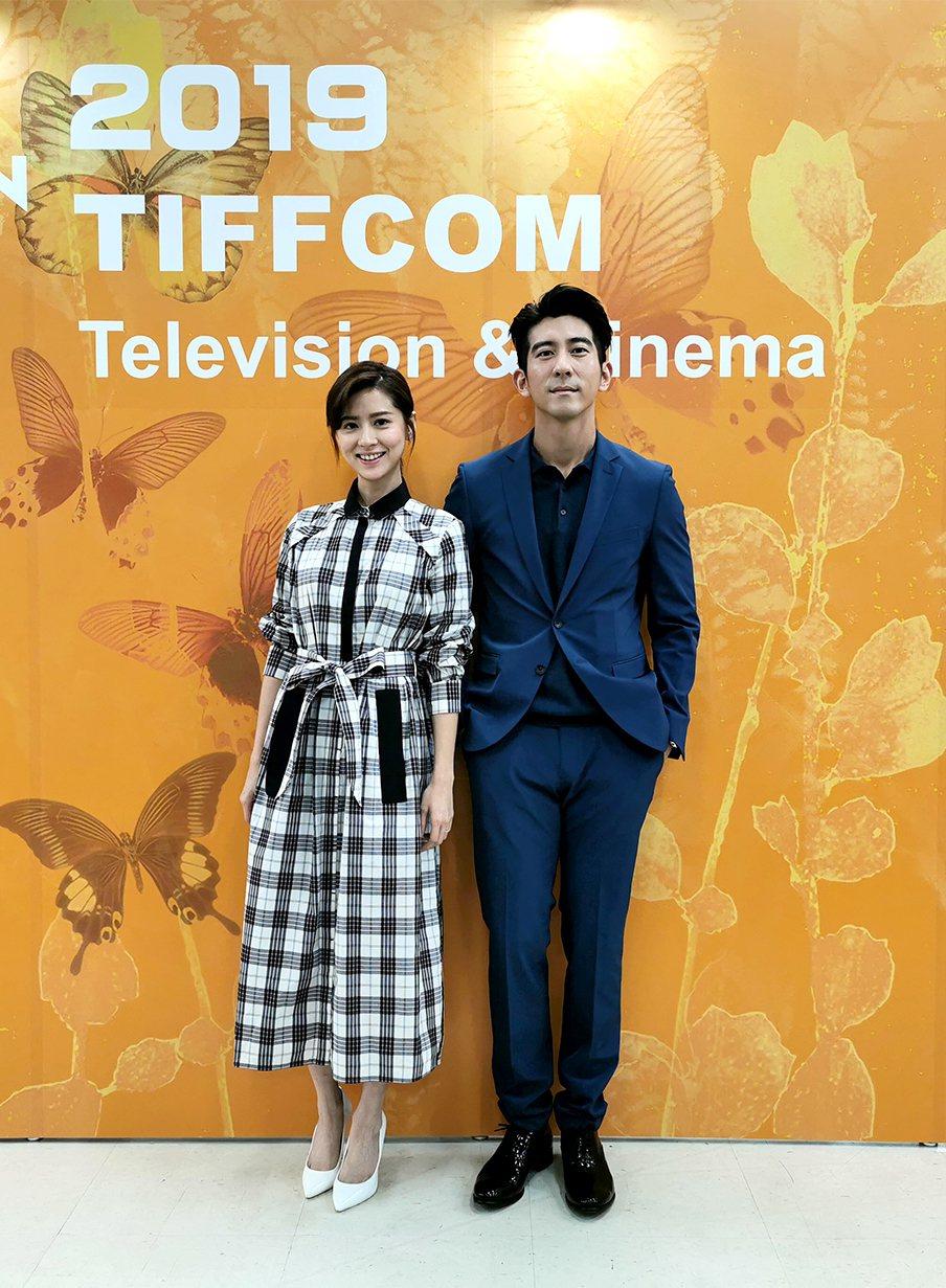 林予晞(左)、修杰楷盛裝出席東京國際影視展。圖/TVBS提供