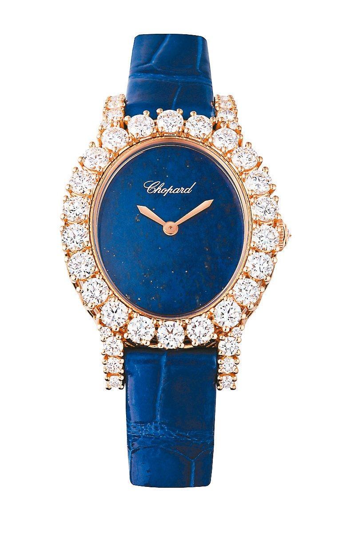 蕭邦L'Heure du Diamant系列玫瑰金鑲鑽青金石機械腕表,164萬元...