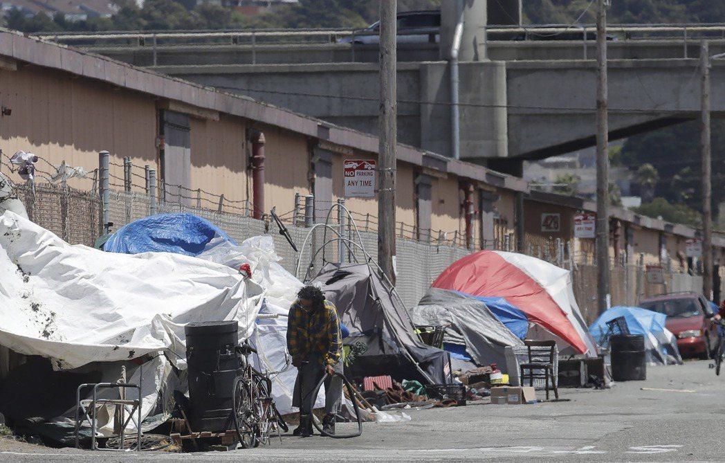 舊金山一處遊民聚集區。 (美聯社)