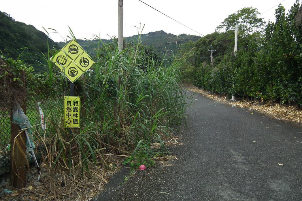 台東卑南鄉利嘉林道設置標誌,提醒注意昆蟲、鳥類、山羊及青蛙等,成為地方特色。 圖...