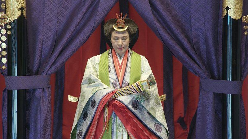 皇后雅子穿「十二單」朝服超優美。(美聯社)