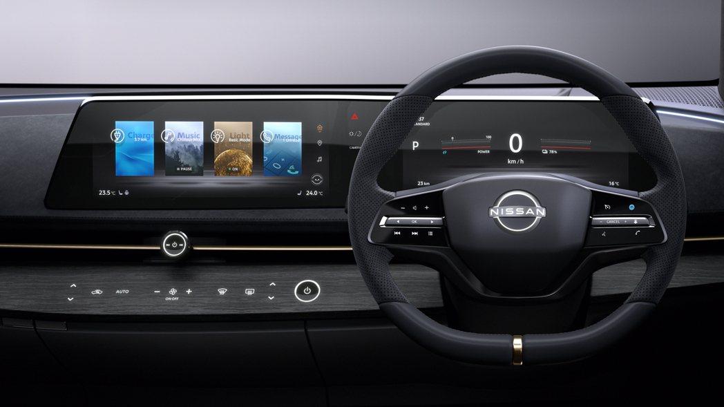 Ariya Concept的中控只有引擎啟動跟中控台旋鈕為實體按鍵。 圖/Nis...