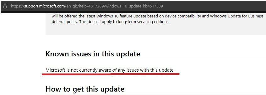 微軟KB4517389的網頁聲明尚未發現任何由此更新程式引起的問題