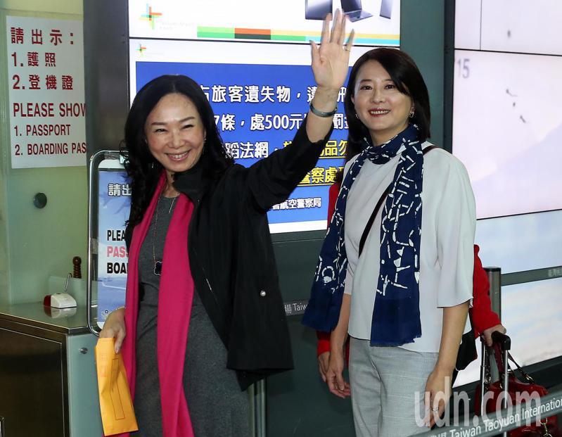 高雄市長韓國瑜夫人李佳芬(左)率領的訪問團,23日清晨搭機前往菲律賓、越南等地訪問僑界。記者陳嘉寧/攝影