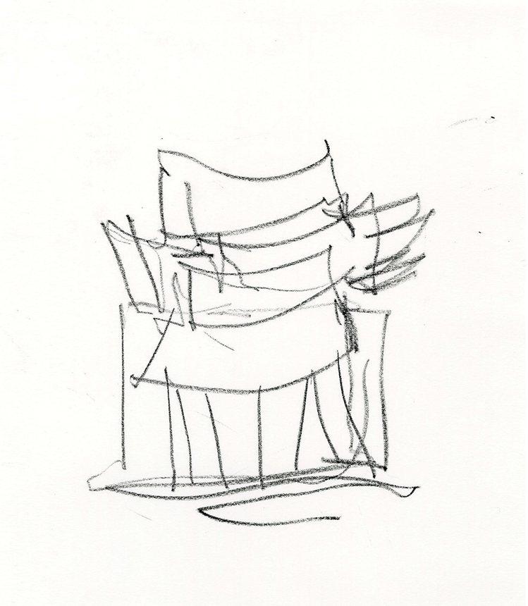 法蘭克蓋瑞的手稿相當具有個人風格,圖為路易威登首爾旗艦店設計圖。圖/Gehry ...