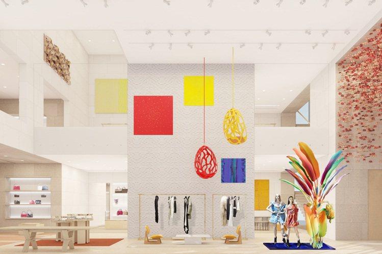 Maison Seoul首爾旗艦店的室內設計呼應玻璃外觀,在室內也以敞亮繽紛的視...