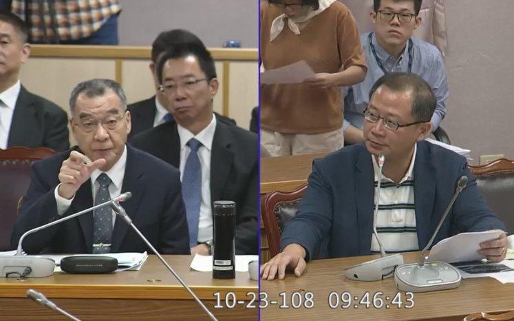 針對陳同佳案,國家安全局長邱國正(左)上午在立法院表示,港府在這個節骨眼把他「弄...