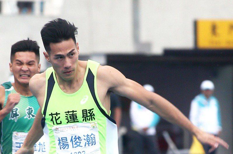 楊俊瀚在男子200公尺完成3連霸。 記者蘇健忠/攝影