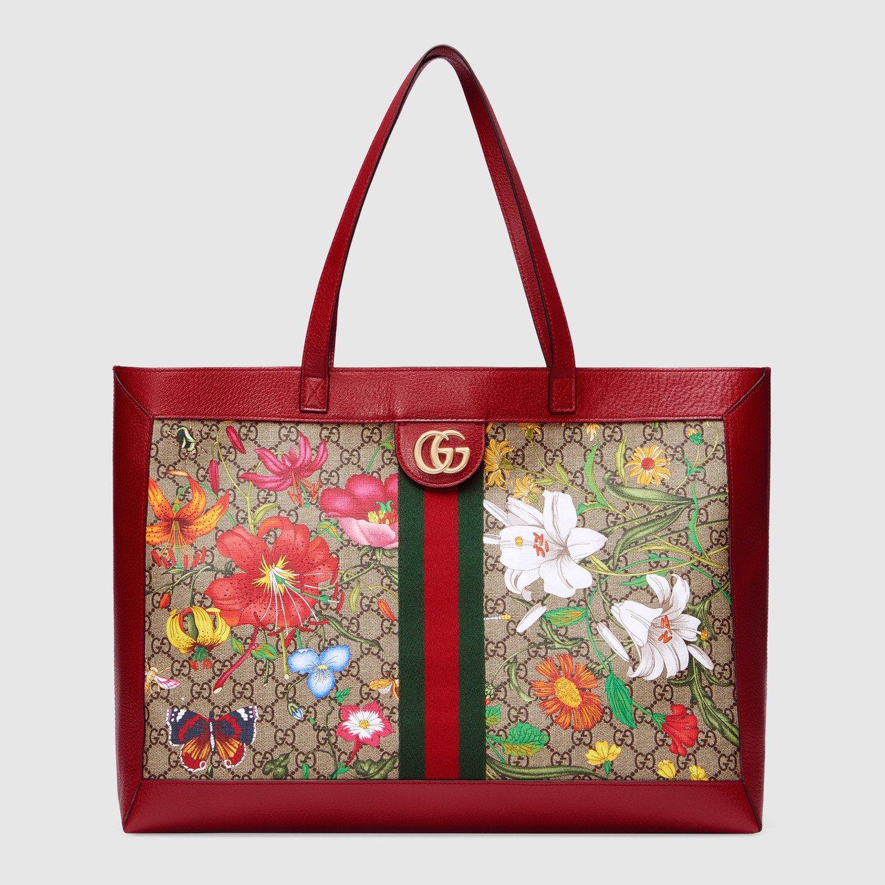 Ophidia系列Flora經典花卉圖騰中型托特包,62,400元。圖/Gucc...