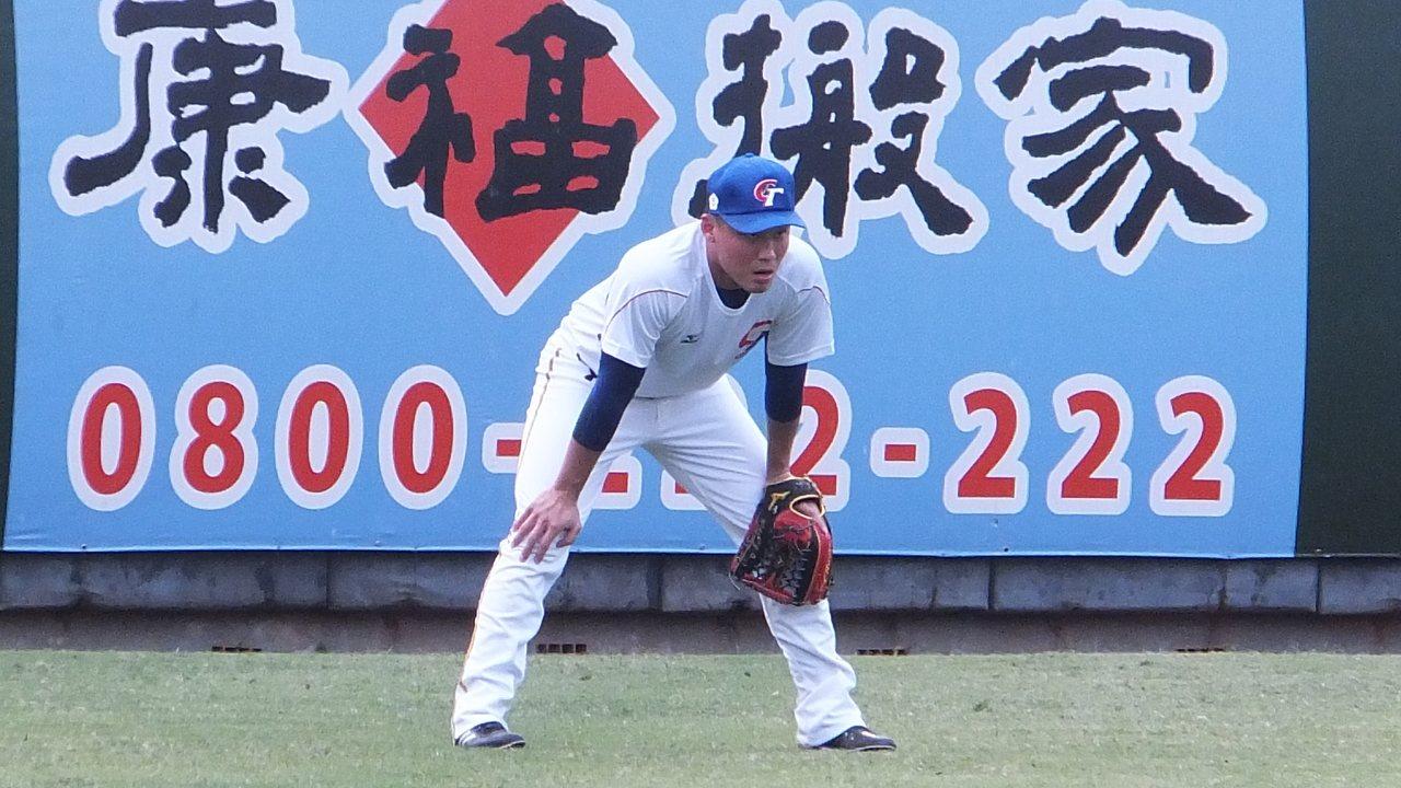 王柏融在中華隊首日練球,心情十分輕鬆。記者藍宗標/攝影