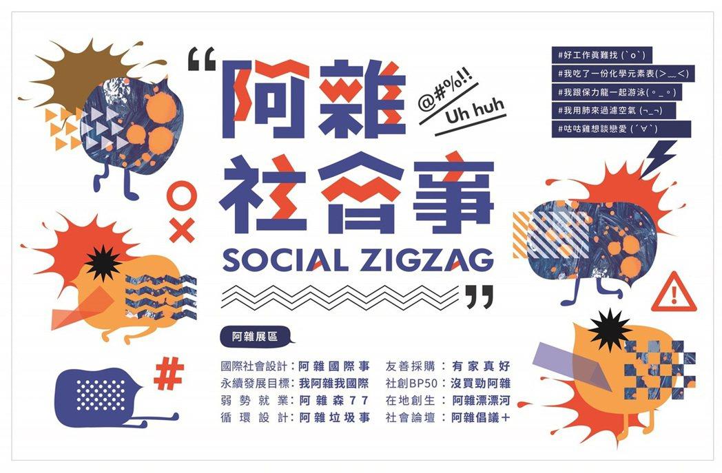 負責為阿雜社會事設計品牌標誌的設計師褚若堯,為呈現展覽活潑的調性,特地將字體設計...