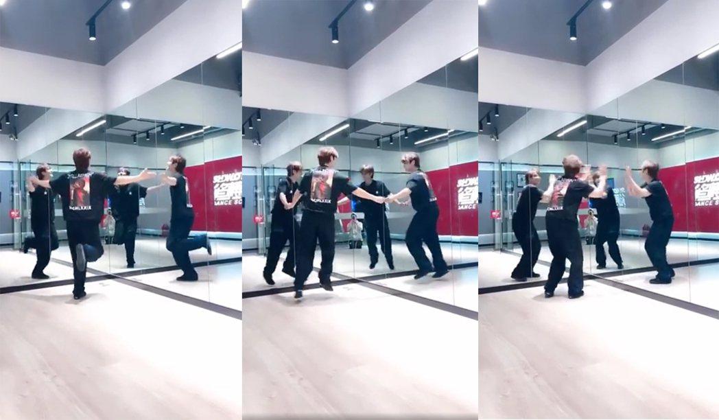 小豬羅志祥對著鏡子跳舞宛如4人群舞。圖/擷自抖音