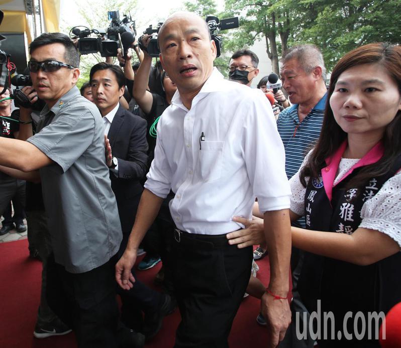 高雄市長韓國瑜在國民黨主席吳敦義抵達會場3分鐘後現身,但吳、韓兩人並未多加互動。記者劉學聖/攝影