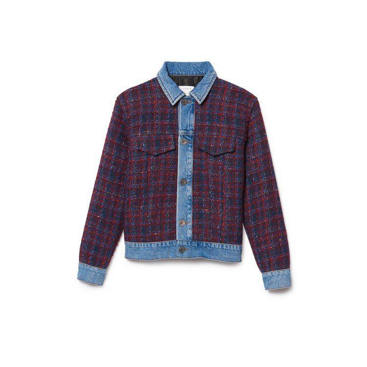 丹寧毛呢拼接夾克,售價16,000元。圖/sandro提供
