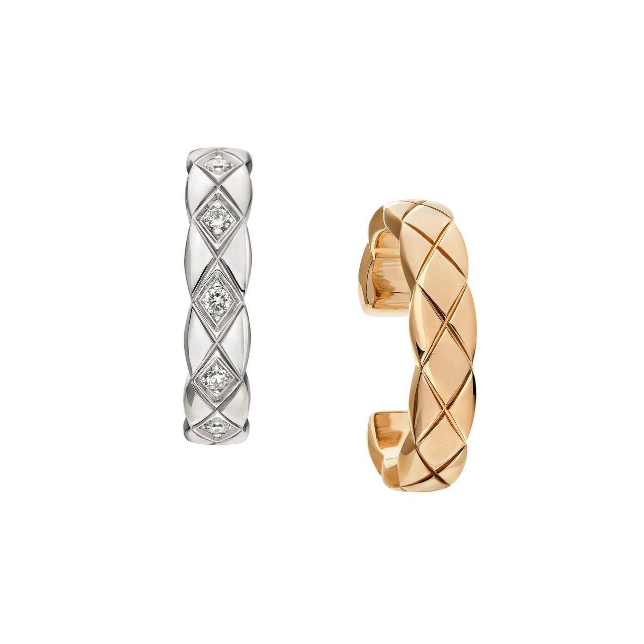 Coco Crush 18K Beige米色金與白金銬式耳骨環,92,000元。...