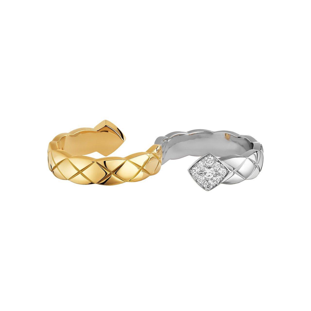 Coco Crush指間戒,18K白金與黃金鑲嵌鑽石,21萬元0,000。圖/香...