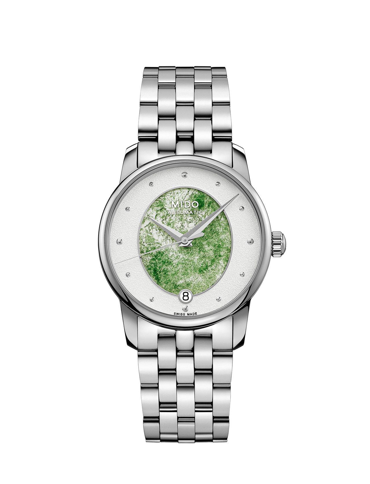 美度表彩石系列表款,碧玉石搭配不鏽鋼表殼、表鍊,約30,200元。圖/MIDO提...
